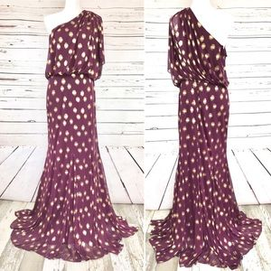 Adrianna Papell Plum/Gold One Shoulder Gown Sz 14